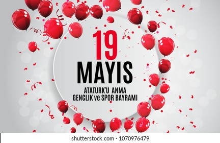 19th may commemoration of Ataturk, youth and sports day (Turkish Speak: 19 mayis Ataturk'u anma, genclik ve spor bayrami).  Turkish holiday greeting card. Vector Illustration EPS10