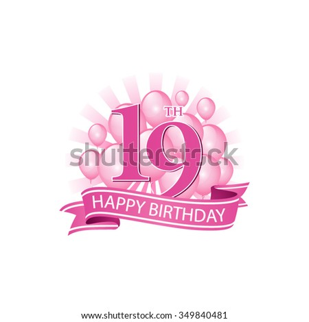 19th Pink Happy Birthday Logo Balloons Stock Vector Royalty Free