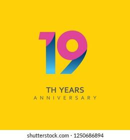 19th Year Anniversary Vector Template Design Illustration.