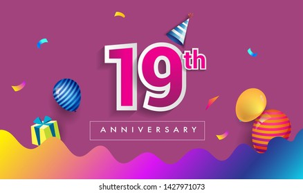 19th Years Anniversary Celebration Design, with gift box and balloons, ribbon, Colorful Vector template elements for your birthday celebrating party.