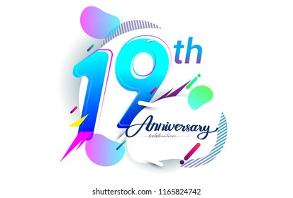 19th years anniversary logo, vector design birthday celebration with colorful geometric background, isolated on white background.