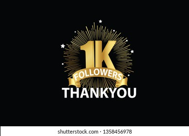1K, 1000 Followers anniversary, minimalist logo years, jubilee, greeting card. invitation. Sign Ribbon Gold space vector illustration on black background - Vector