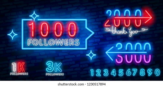 1k, 1000 followers neon sign on the wall. Realistic neon sign with number of followers on the ribbon with stars. Vector illustration for celebrating a large number of subscribers in social network