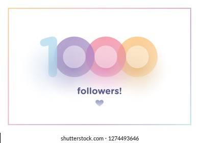1k or 1000, followers thank you colorful background number with soft shadow. Illustration for Social Network friends, followers, Web user Thank you celebrate of subscribers or followers and like