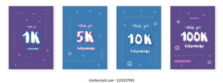 1K, 5K, 10K,100K  followers thank you social media templates. Set of banners for internet networks.  subscribers congratulation post. Vector illustration.
