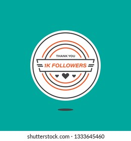 1k followers 1000 followers celebration vintage badge thanks card social media content modern design style vector isolated