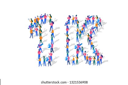 1K Followers Isometric Vector Concept, Group of business people are gathered together in the shape of 1000 word, for web page, banner, presentation, social media, Crowd of little people. teamwork