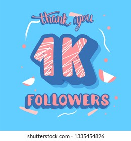 1k followers post. Social media banner. 1000 subscribers thank you. Vector color illustration.