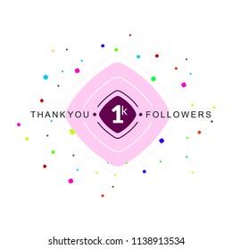 1K Followers Social Media Illustration Concept.
