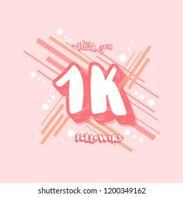 1k followers  social media template. Banner for internet networks. 1000 subscribers congratulation post. Vector illustration.