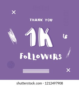 1k followers social media template. Flat banner for internet networks with decoration. 1000 subscribers congratulation post. Vector illustration.
