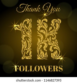1K Followers. Thank you banner. Decorative Font with swirls and floral elements. Golden letters with sparks on a dark background.