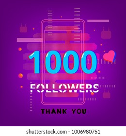 1K Followers thank you phrase on bright background with random items.Template for social media post. Glitch chromatic aberration trendy style. 1000 subscribers banner for blog. Vector illustration.