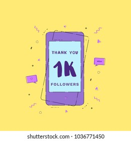 1K Followers thank you phrase with phone. Template for social media post. Glitch chromatic aberration style. 1000 subscribers banner. Vector illustration.