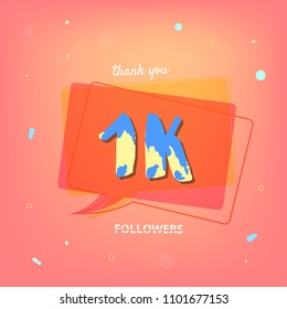 1K followers thank you post with decoration. 1000 subscribers red banner with speech bubble. Template for social media networks. Vector illustration.