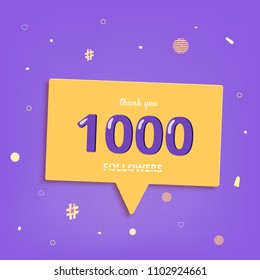 1K followers thank you post with decoration. 1000 subscribers square banner with speech bubble. Template for social media networks. Vector illustration.