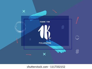 1K followers thank you post with decoration. 1000 subscribers  banner with square badge. Greeting card for social networks. Vector illustration.