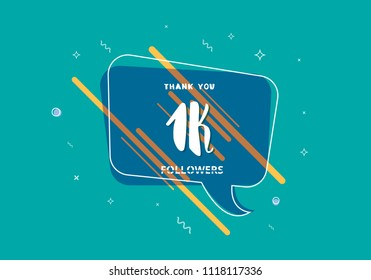 1K followers thank you post with decoration. 1000 subscribers  banner with speech bubble. Greeting card for social networks. Vector illustration.