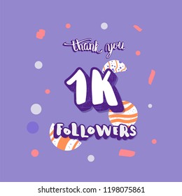 1K  followers thank you social media template. Card for internet networks.  1000 subscribers congratulation post. Vector illustration.