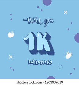 1k followers thank you social media template. Banner for internet networks.  1000 subscribers congratulation post with creative handwritten lettering. Vector illustration.