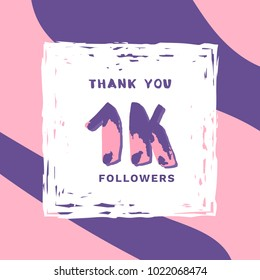 1K Followers thank you square banner with frame and wavy background. Template for social media post. Handwritten letters. 1000 subscribers. Vector illustration.