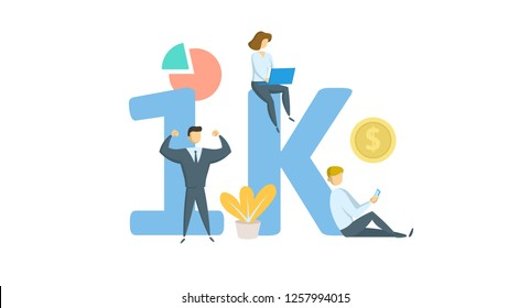 1K likes online social media banner. Concept with keywords, letters, and icons. Colored flat vector illustration. Isolated on white background.