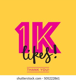 1K likes online social media thank you banner