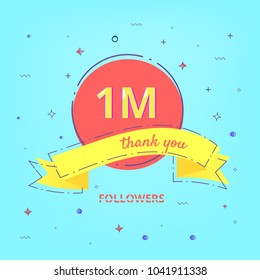 1M Followers celebration card with ribbon. One million Followers thank you phrase. Template for social media post.  1000000 subscribers banner.  Element for web network. Vector illustration.