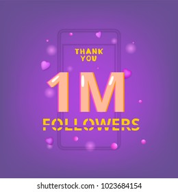 1M Followers thank you phrase with random items. Template for social media post. Glitch chromatic aberration style. Ultra violet palette colors. 1 million subscribers banner. Vector illustration.