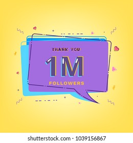 1M Followers thank you phrase with speech bubble. Template for social media post. Glitch chromatic aberration style. One million subscribers banner for network. Vector illustration.