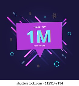 1M followers thank you post with speech bubble and decoration. 1 million subscribers  banner. Greeting card for social networks. Vector illustration.