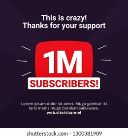 1M subscribers celebration background design. 1 million subscribe