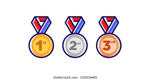 1st 2nd 3rd Gold Silver Bronze medal first place second third award winner badge guarantee winning prize ribbon symbol sign icon logo template Vector clip art illustration