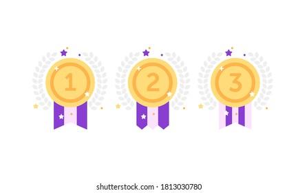 1.ª 2ª medalla primer lugar segundo tercer galardonado garantía de la banda de señalización del premio símbolo del icono del símbolo del símbolo del icono del Vector ilustración del clip