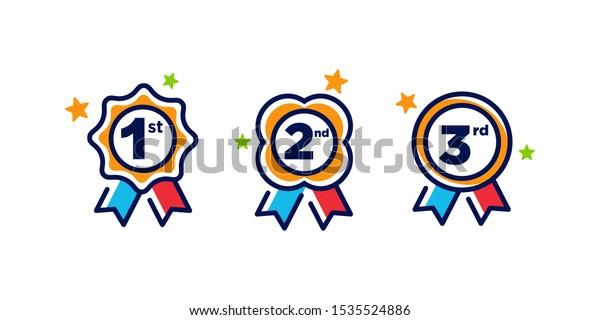 第1位の第2位の第3メダルが第1位で 第3位の受賞バッジが受賞賞を保証する賞のリボンシンボルシンボルのロゴテンプレートベクタークリップアートイラスト のベクター画像素材 ロイヤリティフリー