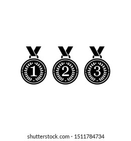 1st, 2nd, 3rd medals with ribbon flat vector icons for sports apps and websites