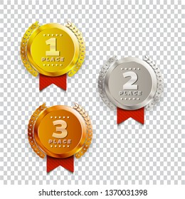 1st, 2nd, 3rd place logo's with laurels and ribbons. Vector illustration.