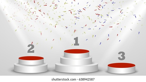1st, 2nd, 3rd place Podiums of rewarding Poster or brochure template.Confetti and stage light Vector illustration.