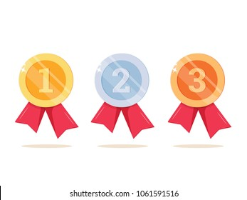 1st, 2nd and 3rd places. Gold, silver, bronze medal. First, second, third place. Award winner. Trophy with red ribbon. Golden badge for achievement. Vector flat design. Isolated on white background.