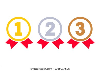 1st, 2nd, 3rd places. Gold, silver, bronze medal silhouette. First, second, third place. Award winner. Trophy with red ribbon. Golden badge achievement. Vector flat design Isolated on white background