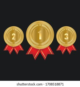 1st, 2nd, 3rd Sports awards three medals, gold isolated on a black background