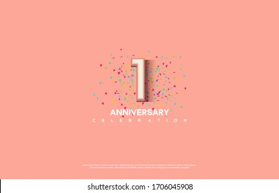 1st anniversary background with illustrations of white numbers and pink color on the edges of numbers.