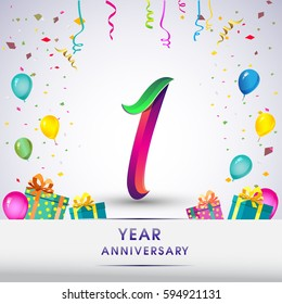 1st Anniversary Celebration Design, with gift box, balloons and confetti, Colorful Vector template elements for your, one years birthday celebration party.