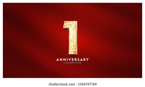 1st Anniversary celebration - Golden numbers  with red fabric background