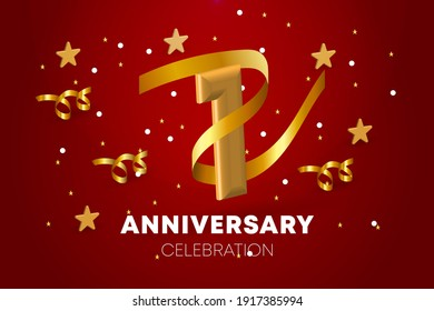 1st Anniversary celebration. Golden numbers with sparkling stars, and streamer ribbons. Vector festive illustration. Realistic 3d sign. Party event decoration
