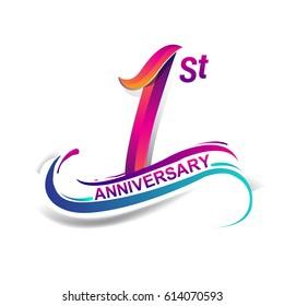 1st anniversary logo images stock photos vectors shutterstock https www shutterstock com image vector 1st anniversary celebration logotype blue red 614070593