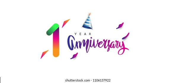 1st anniversary celebration logotype and anniversary calligraphy text colorful design, celebration birthday design on white background.