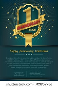 1st Anniversary celebration template design , 1 year anniversary design of elements, dark green or Turquoise blue background - vector illustration