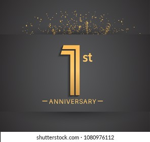 1st anniversary design for company celebration event with golden multiple line and confetti isolated on dark background