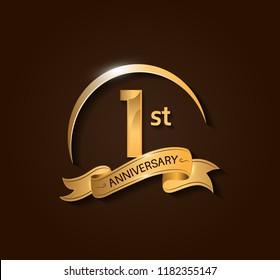 1st Anniversary design logotype. Anniversary logo design with swoosh and elegance golden ribbon. Vector template for use celebration, invitation card, and greeting card
